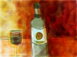 illustration of wine bottle and glass