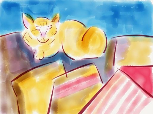 cat on couch illustration