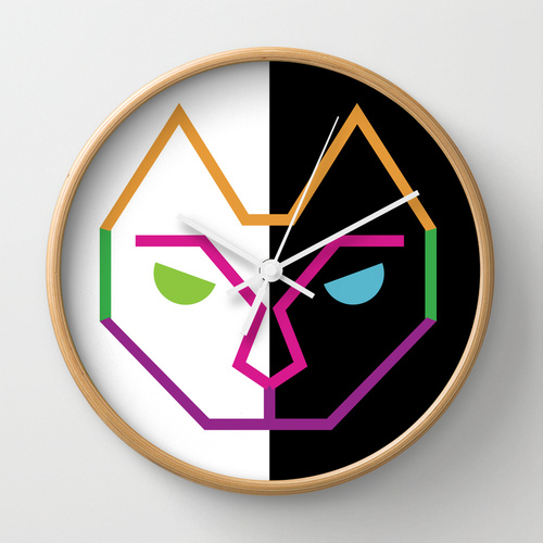 Eclectic cat wall clock by lindsey baker