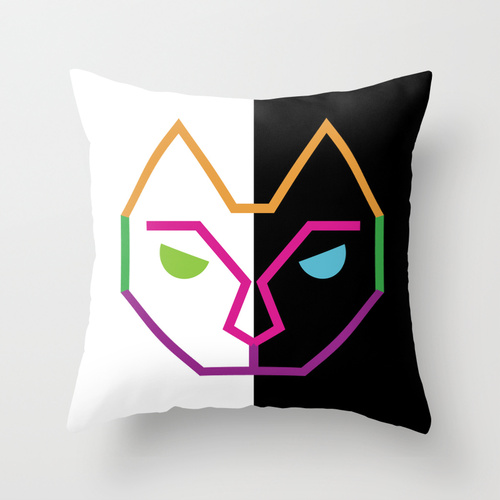 Eclectic cat  throw pillow by lindsey baker